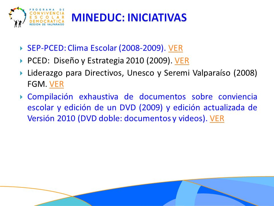 MINEDUC: INICIATIVAS SEP-PCED: Clima Escolar (2008-2009). VER