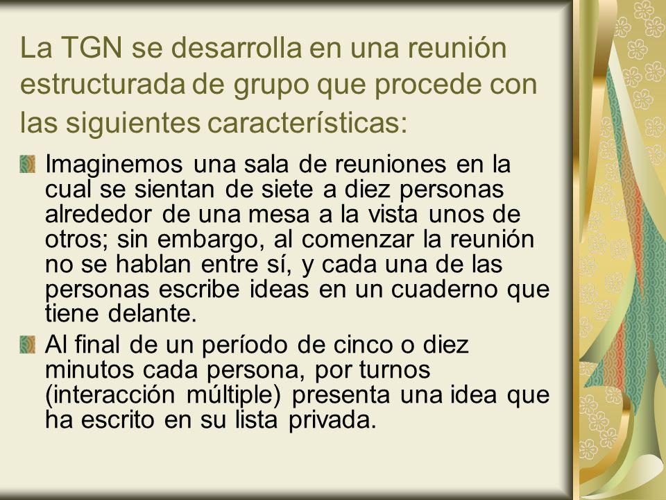 La TGN se desarrolla en una reunión estructurada de grupo que procede con las siguientes características: