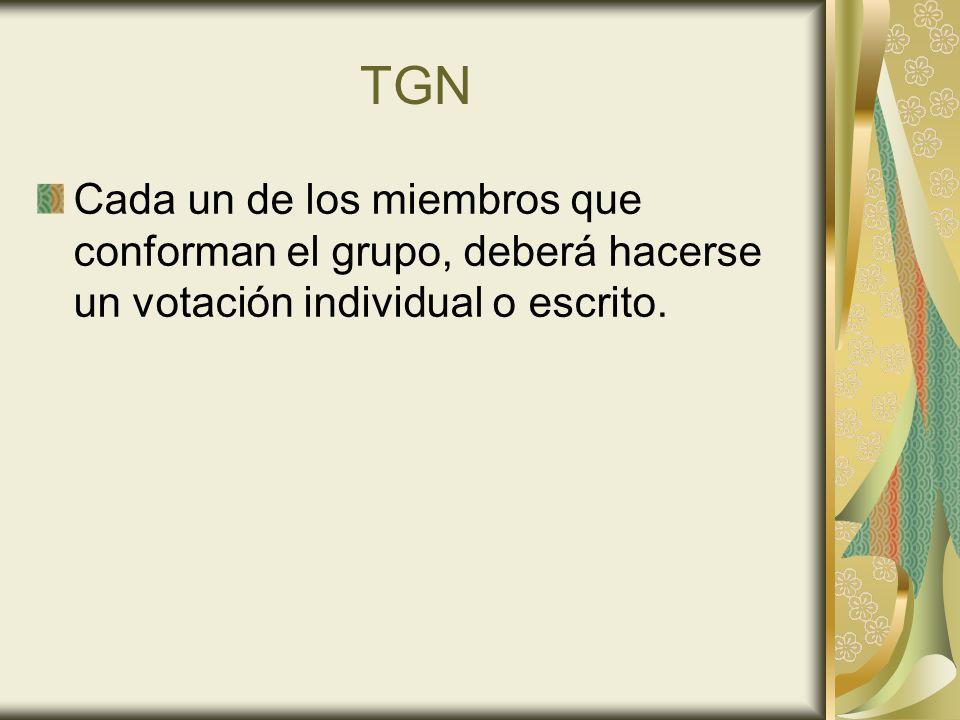 TGN Cada un de los miembros que conforman el grupo, deberá hacerse un votación individual o escrito.