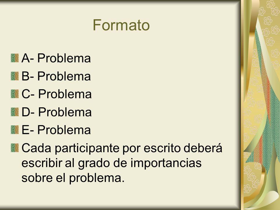 Formato A- Problema B- Problema C- Problema D- Problema E- Problema
