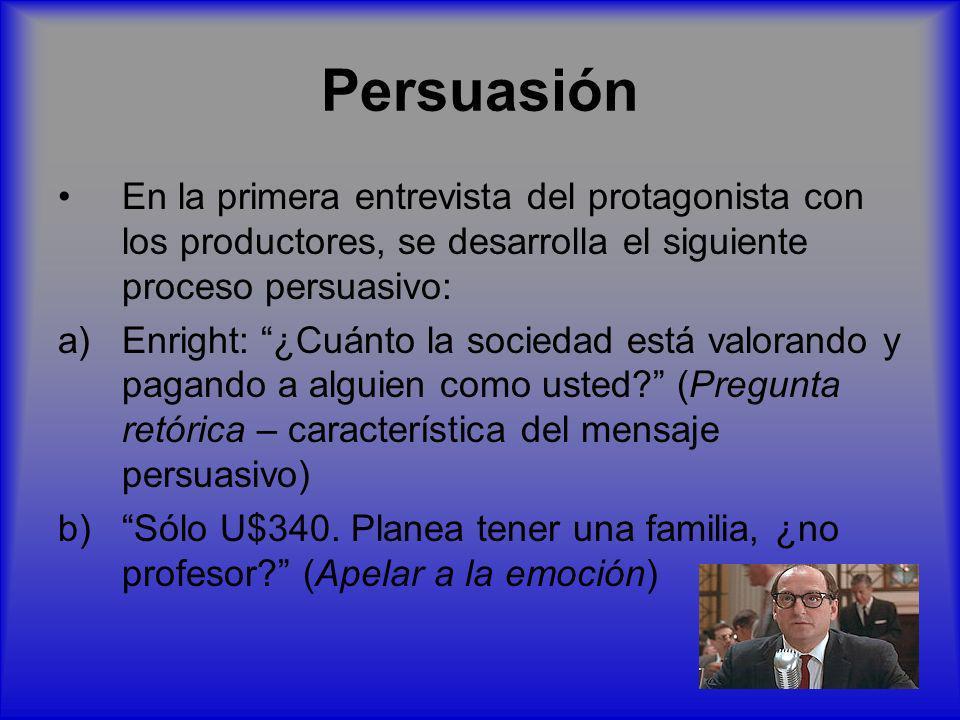 Persuasión En la primera entrevista del protagonista con los productores, se desarrolla el siguiente proceso persuasivo: