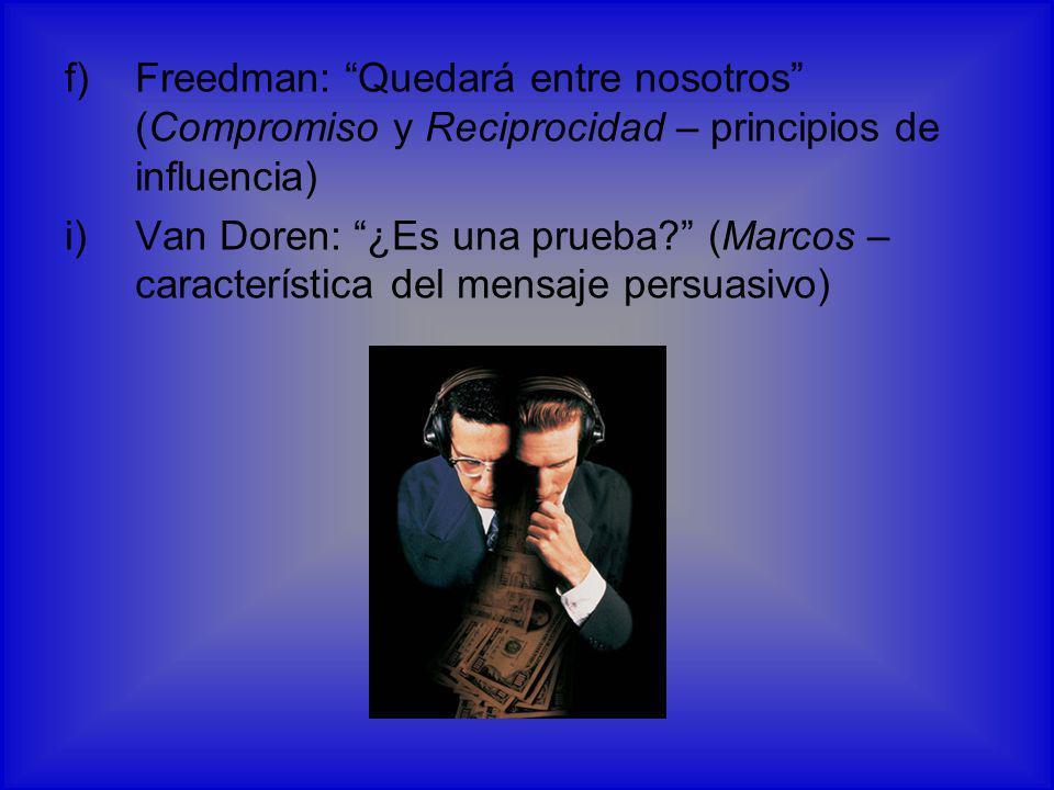Freedman: Quedará entre nosotros (Compromiso y Reciprocidad – principios de influencia)