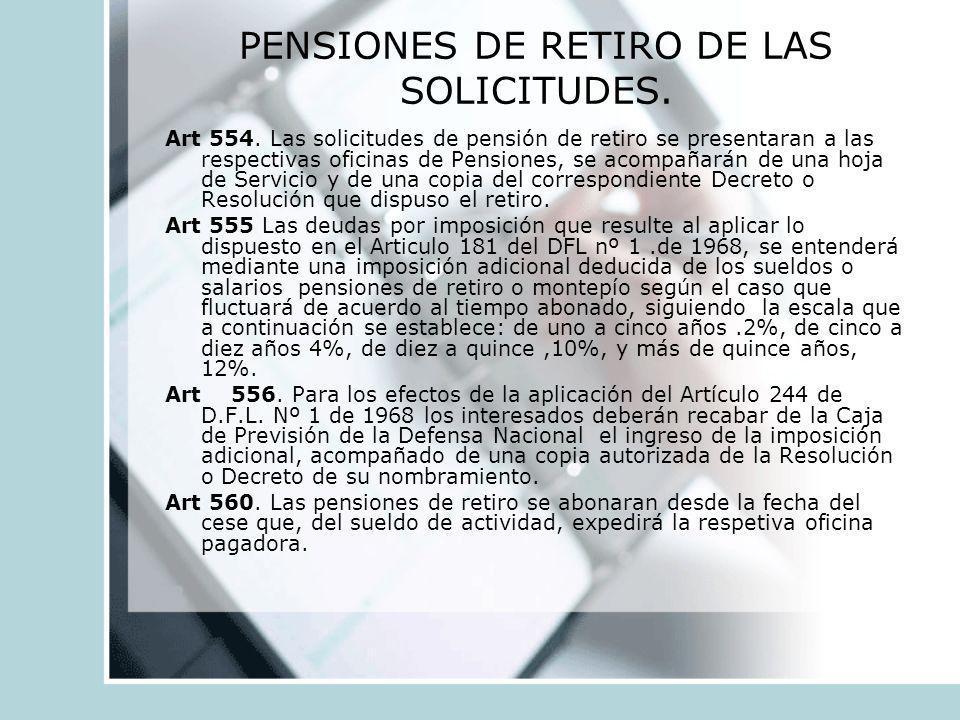 PENSIONES DE RETIRO DE LAS SOLICITUDES.
