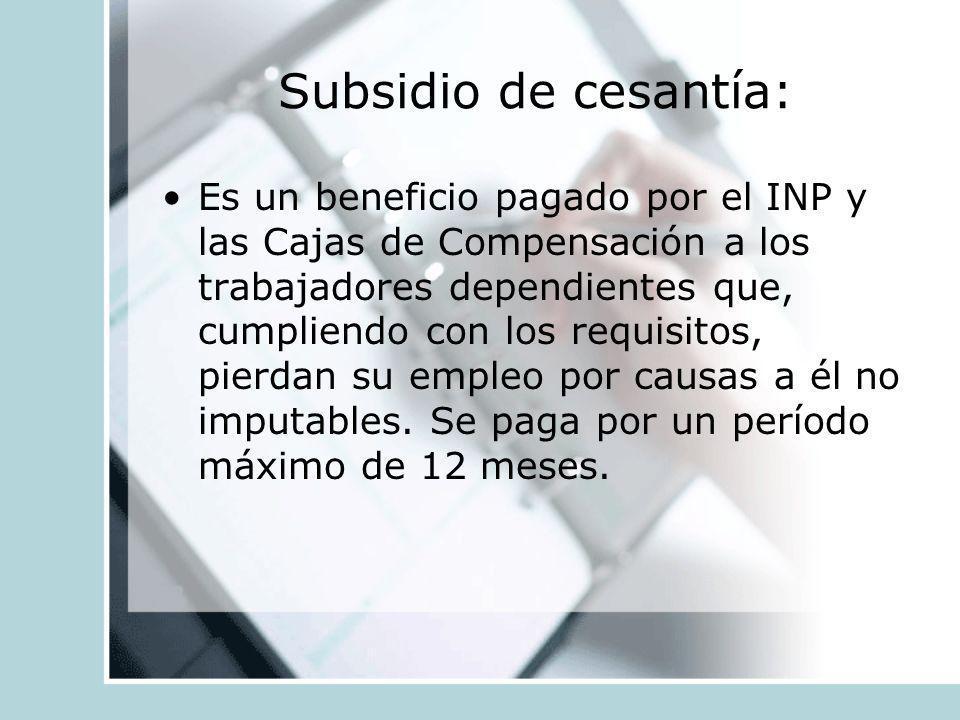 Subsidio de cesantía: