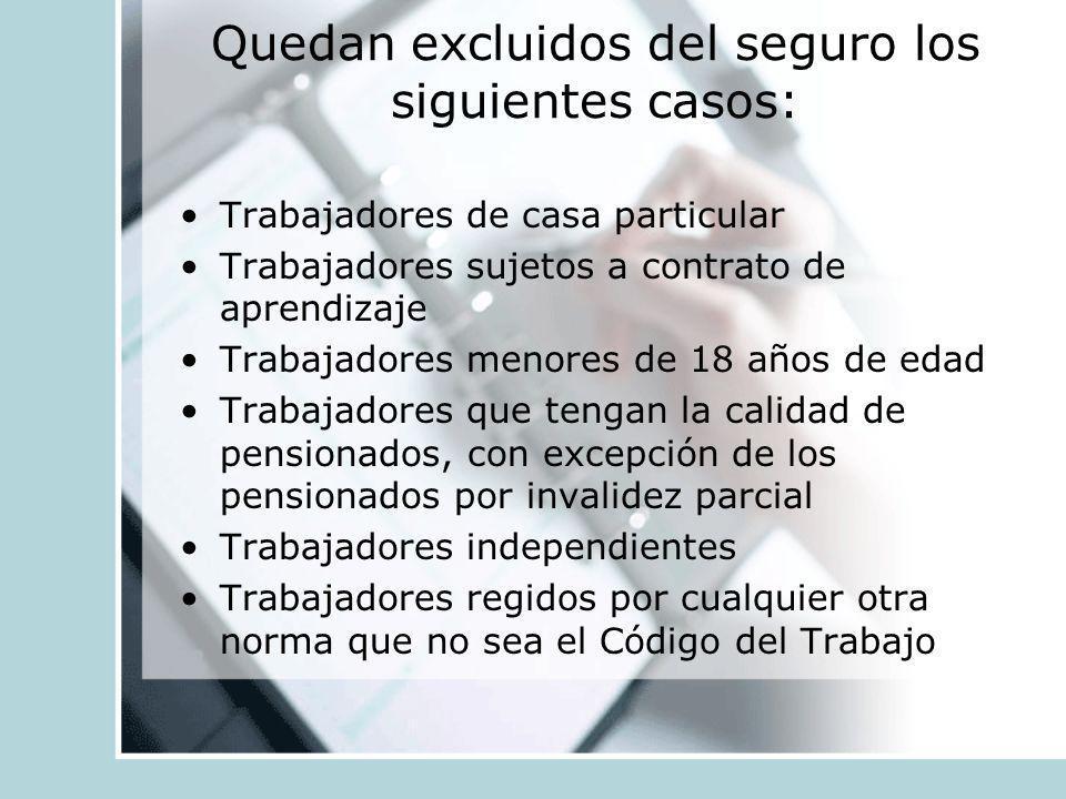 Quedan excluidos del seguro los siguientes casos: