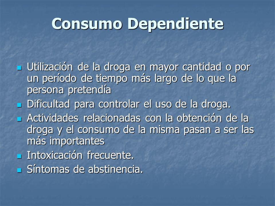 Consumo Dependiente Utilización de la droga en mayor cantidad o por un período de tiempo más largo de lo que la persona pretendía.