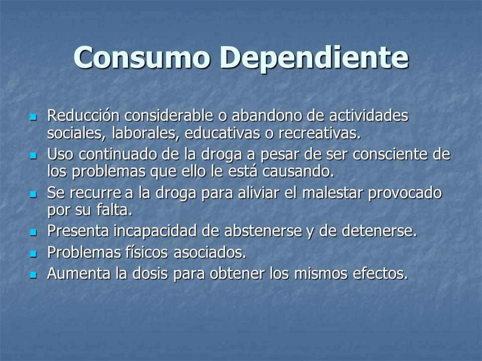 Consumo Dependiente Reducción considerable o abandono de actividades sociales, laborales, educativas o recreativas.