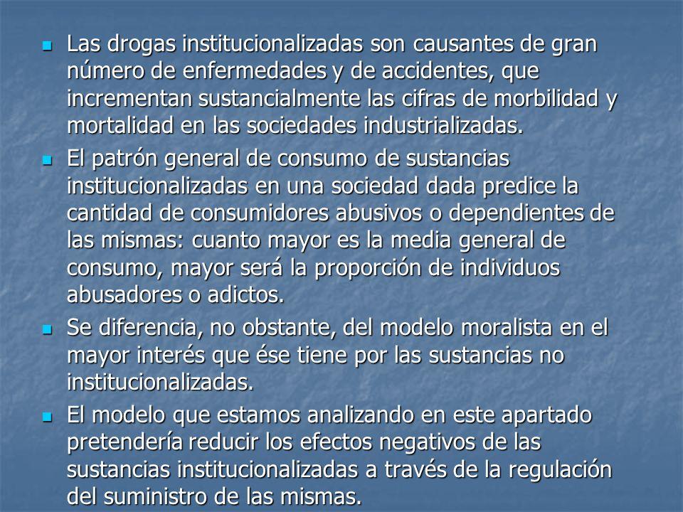 Las drogas institucionalizadas son causantes de gran número de enfermedades y de accidentes, que incrementan sustancialmente las cifras de morbilidad y mortalidad en las sociedades industrializadas.