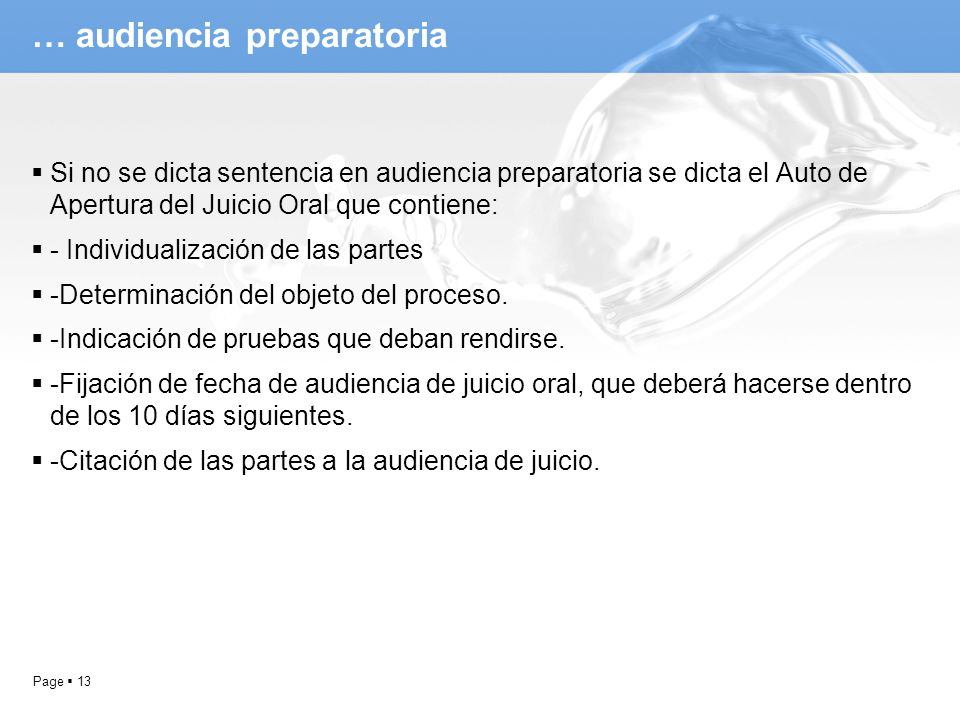 … audiencia preparatoria