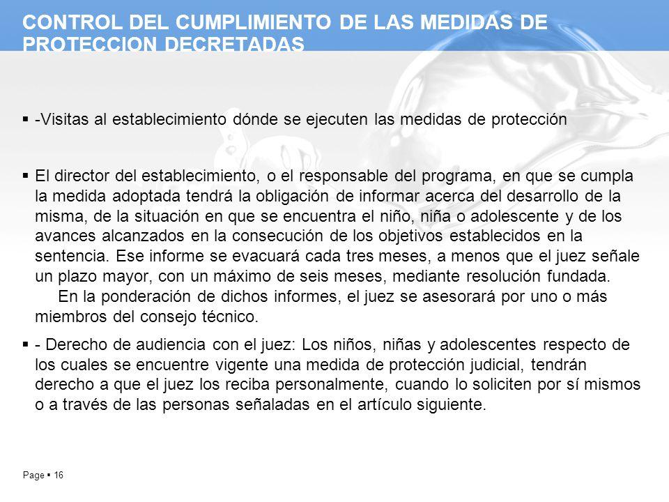 CONTROL DEL CUMPLIMIENTO DE LAS MEDIDAS DE PROTECCION DECRETADAS