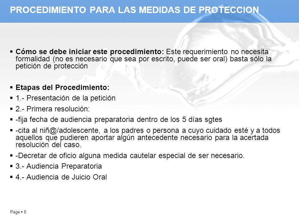 PROCEDIMIENTO PARA LAS MEDIDAS DE PROTECCION