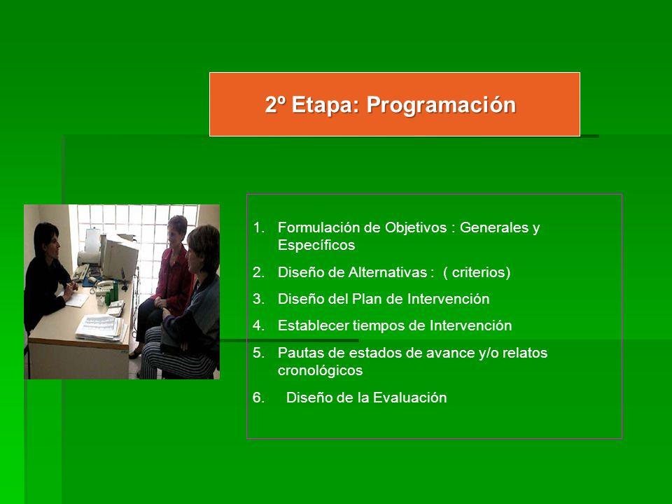 2º Etapa: ProgramaciónFormulación de Objetivos : Generales y Específicos. Diseño de Alternativas : ( criterios)
