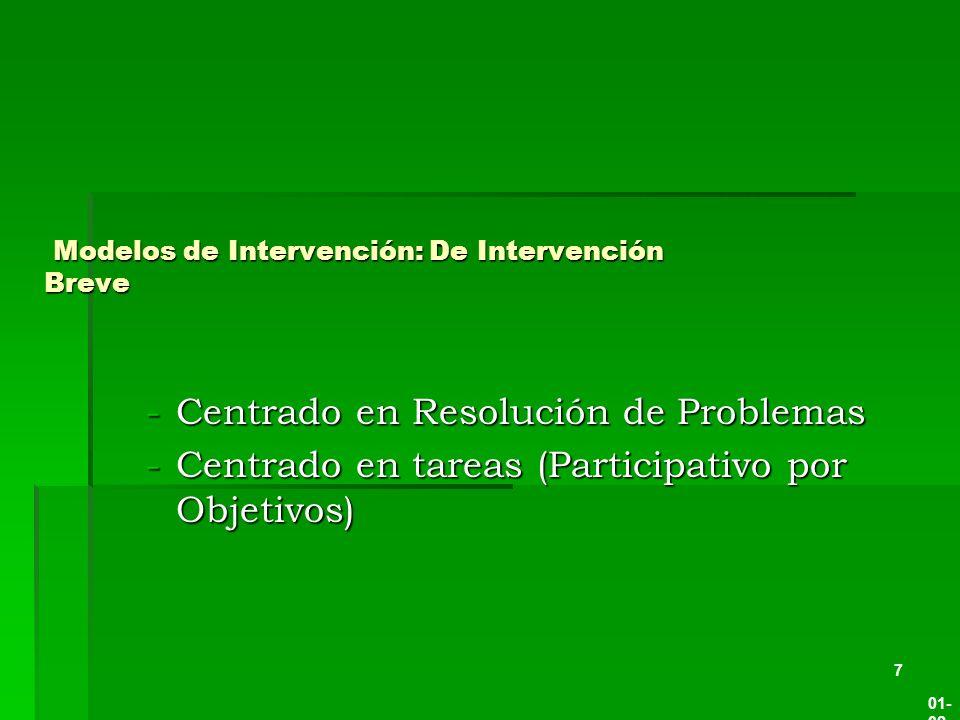 Modelos de Intervención: De Intervención Breve