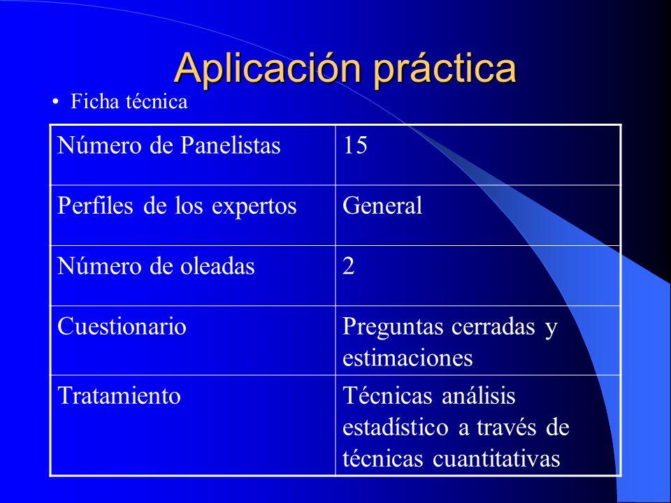 Aplicación práctica Número de Panelistas 15 Perfiles de los expertos