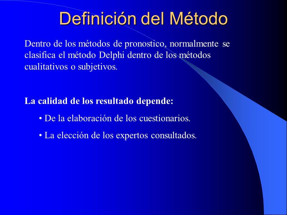 Definición del MétodoDentro de los métodos de pronostico, normalmente se clasifica el método Delphi dentro de los métodos cualitativos o subjetivos.
