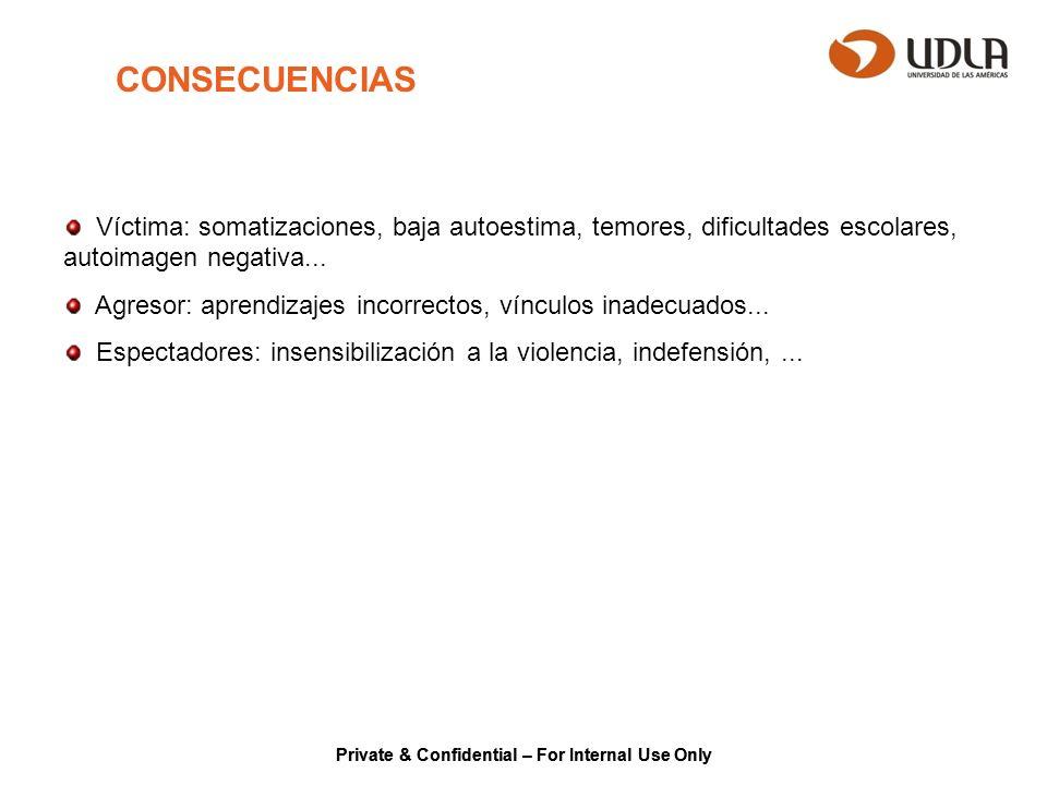 CONSECUENCIAS Víctima: somatizaciones, baja autoestima, temores, dificultades escolares, autoimagen negativa...