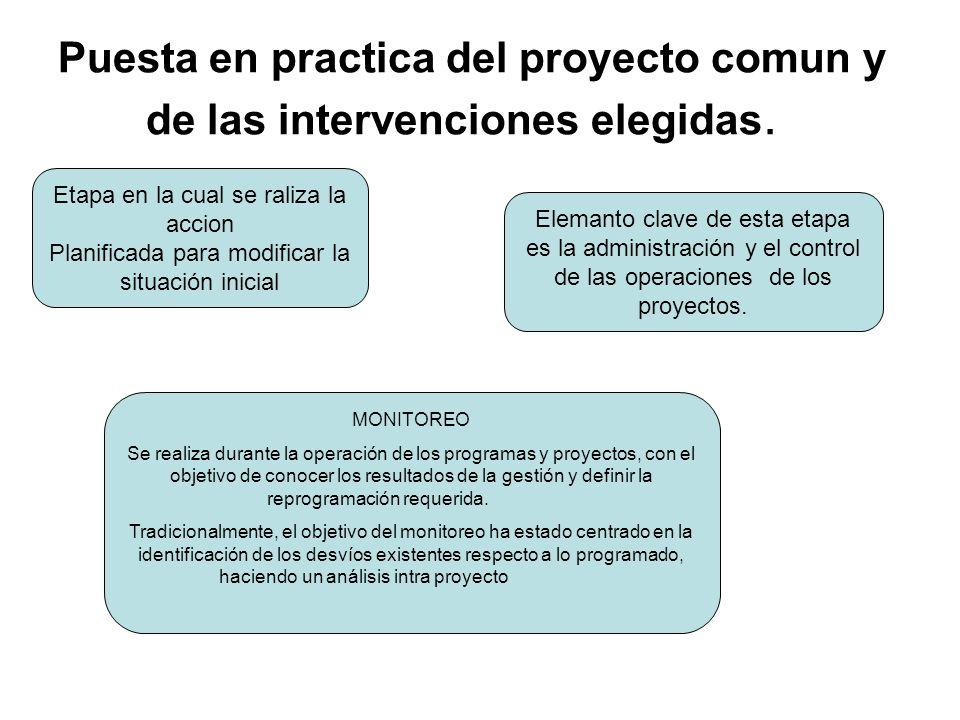 Puesta en practica del proyecto comun y de las intervenciones elegidas.
