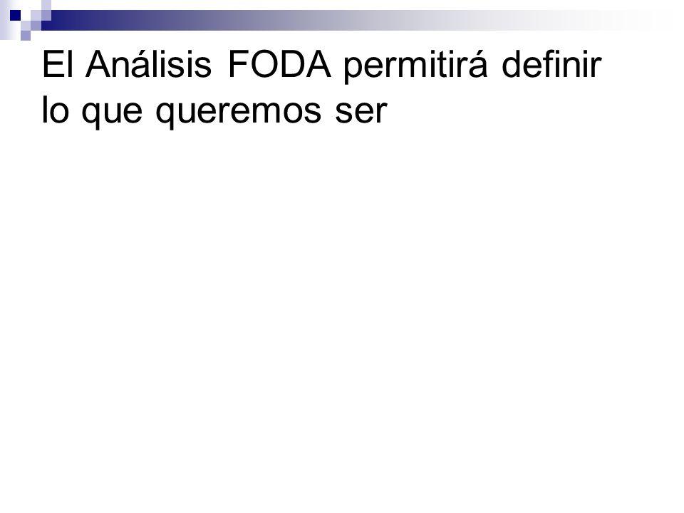 El Análisis FODA permitirá definir lo que queremos ser