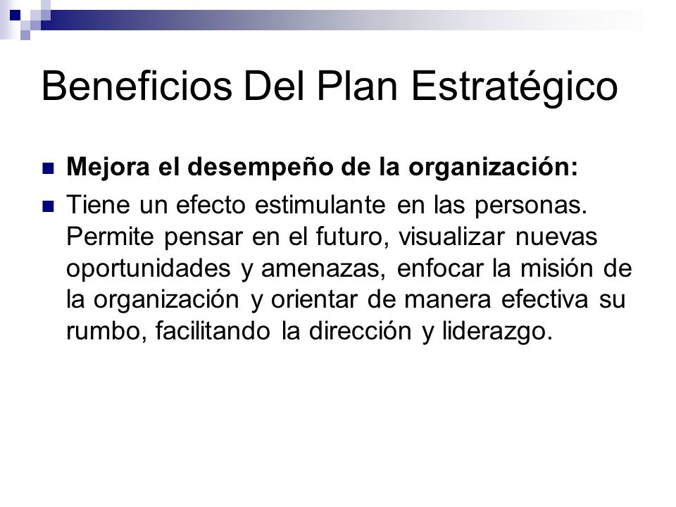 Beneficios Del Plan Estratégico