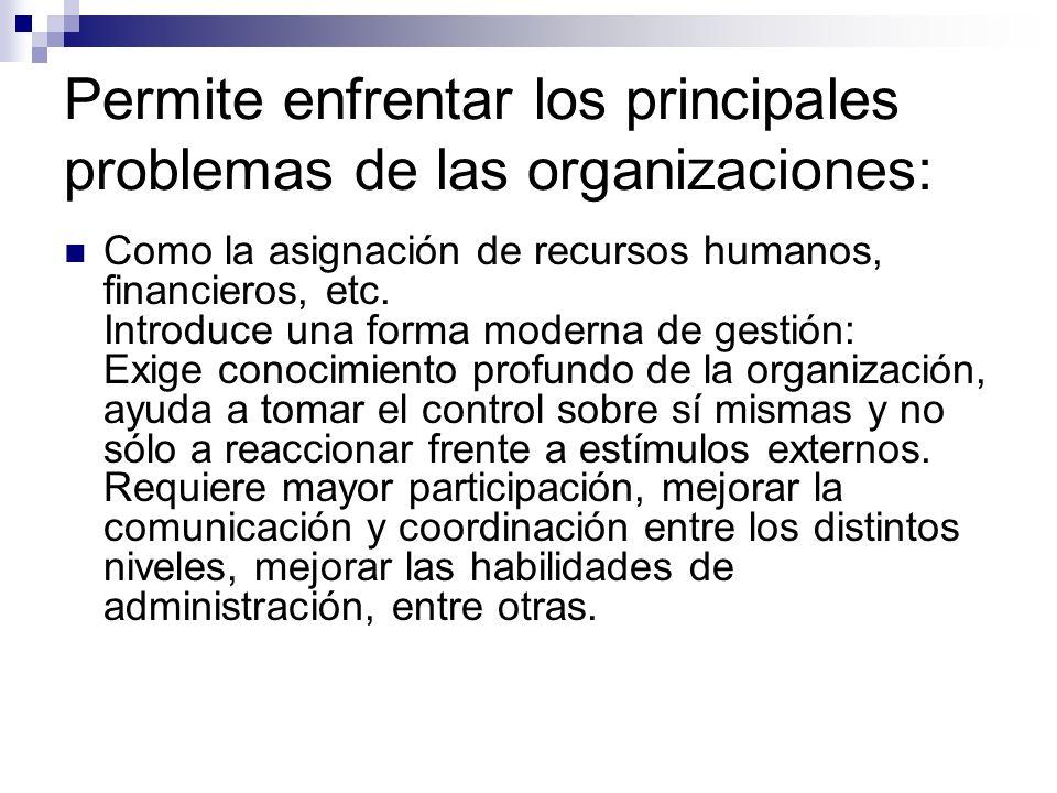 Permite enfrentar los principales problemas de las organizaciones: