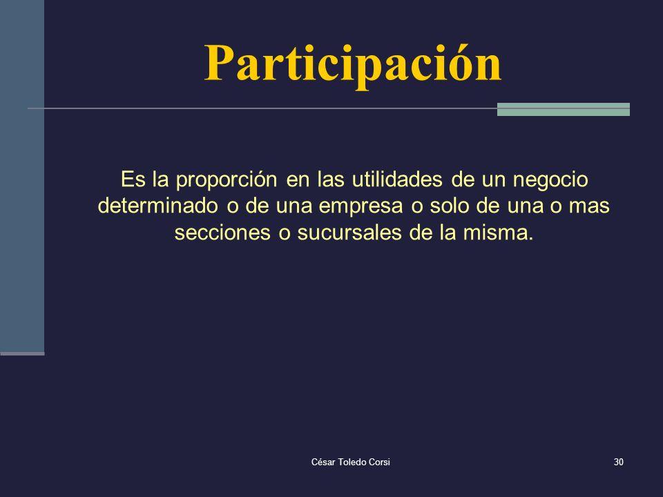 Participación Es la proporción en las utilidades de un negocio determinado o de una empresa o solo de una o mas secciones o sucursales de la misma.