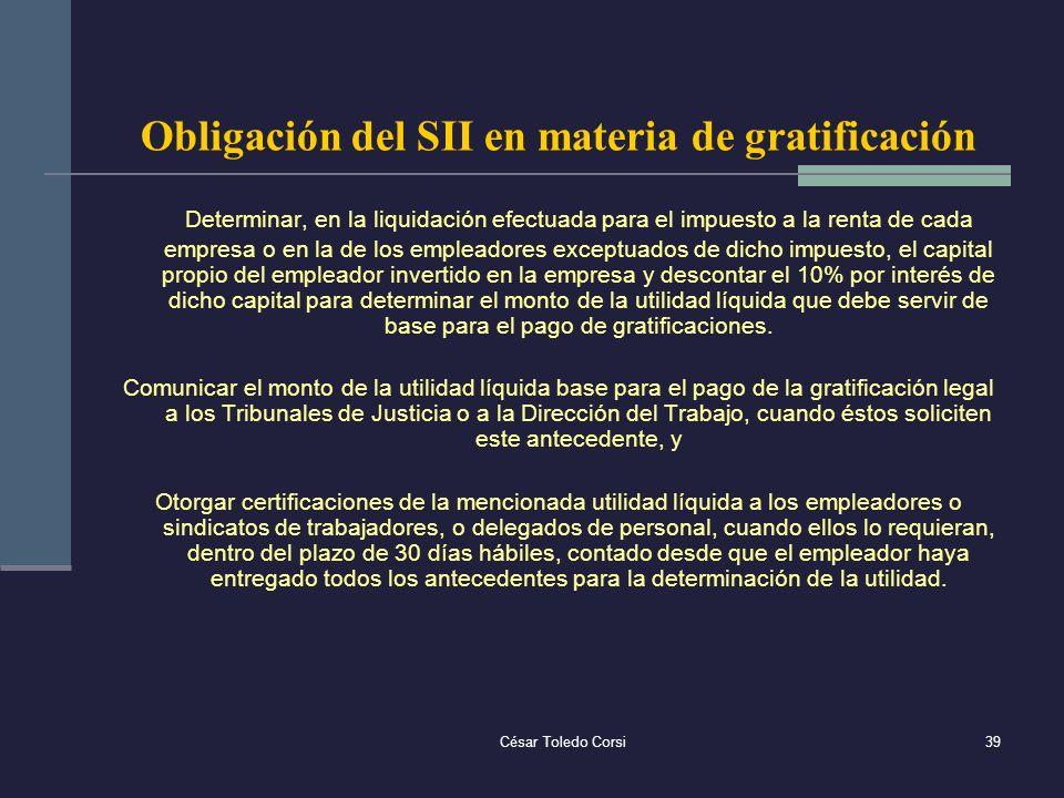 Obligación del SII en materia de gratificación