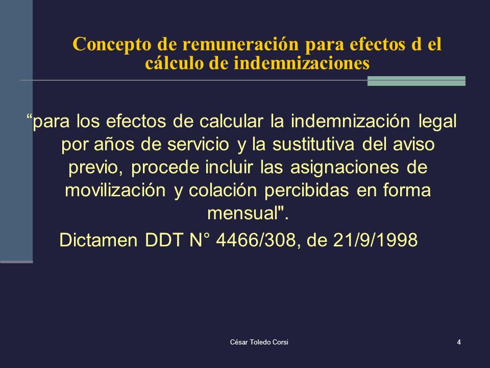 Concepto de remuneración para efectos d el cálculo de indemnizaciones