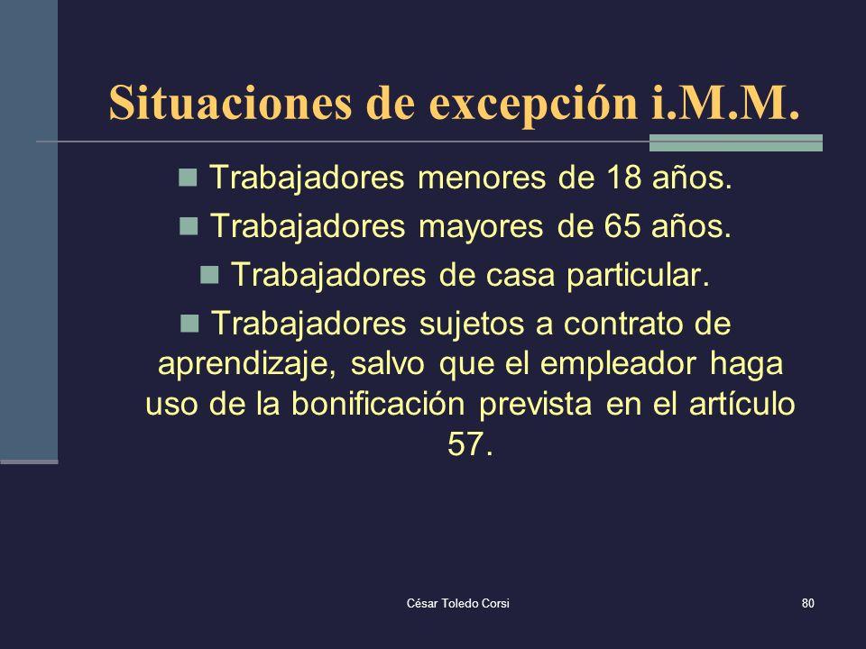 Situaciones de excepción i.M.M.