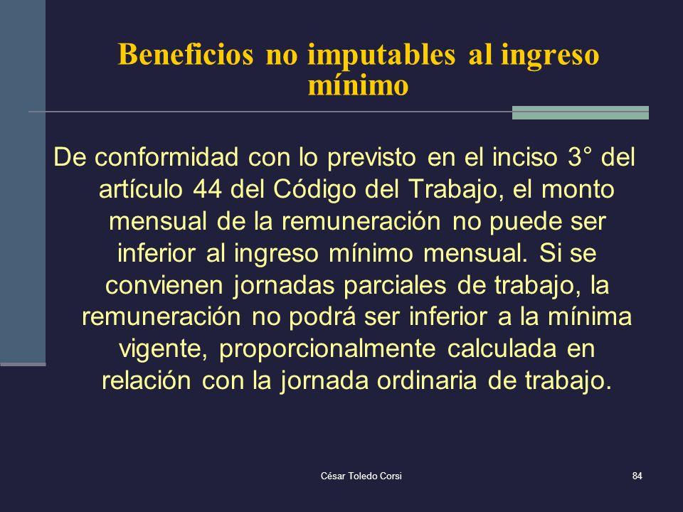 Beneficios no imputables al ingreso mínimo