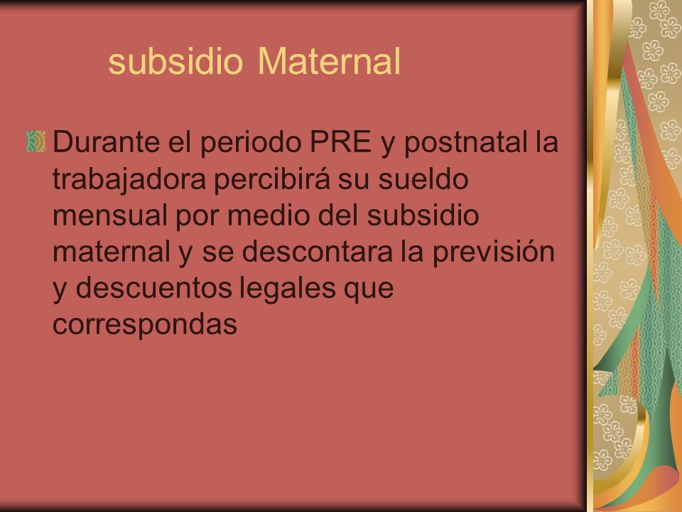 subsidio Maternal