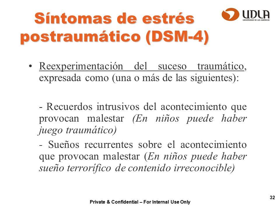 Síntomas de estrés postraumático (DSM-4)