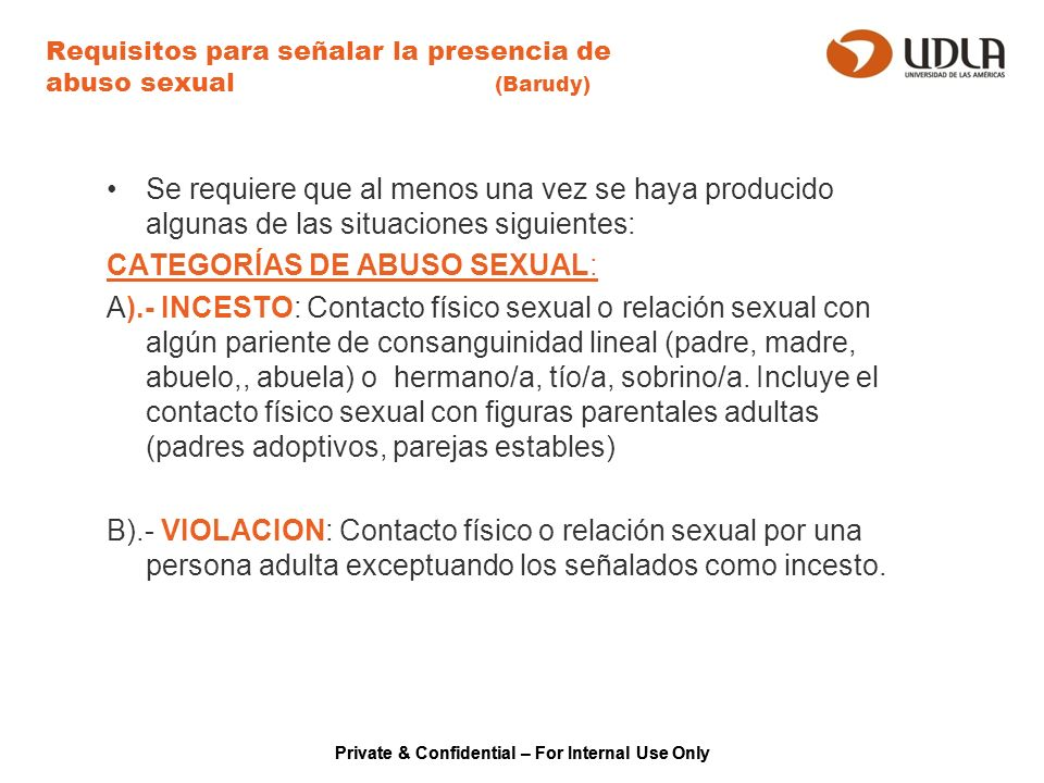 Requisitos para señalar la presencia de abuso sexual (Barudy)