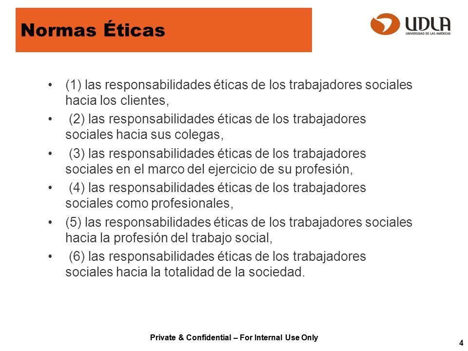 Normas Éticas (1) las responsabilidades éticas de los trabajadores sociales hacia los clientes,