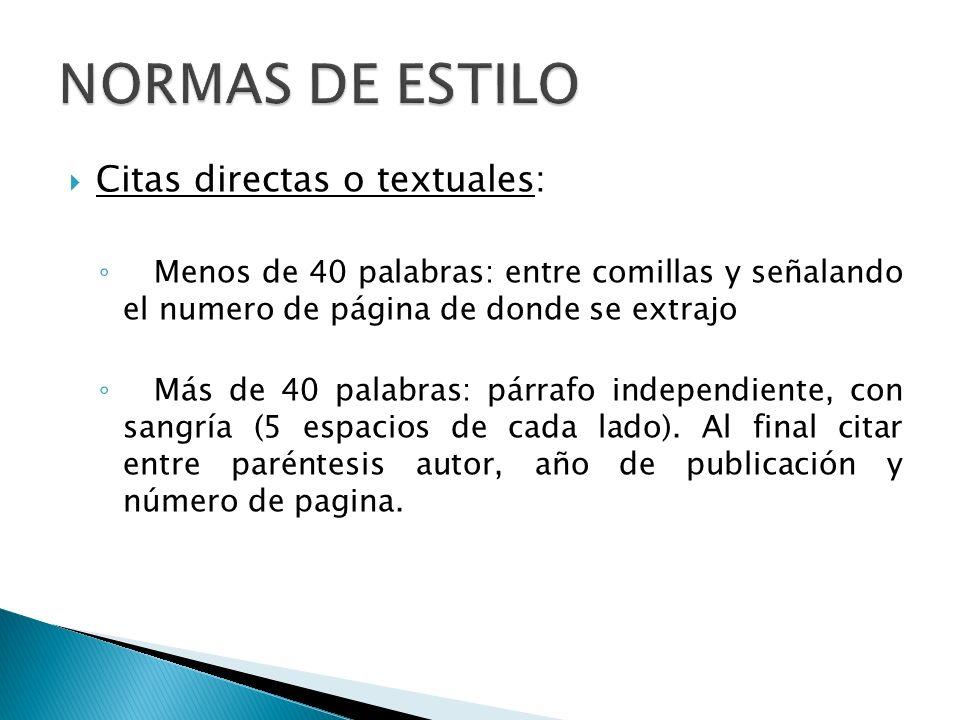 NORMAS DE ESTILO Citas directas o textuales: