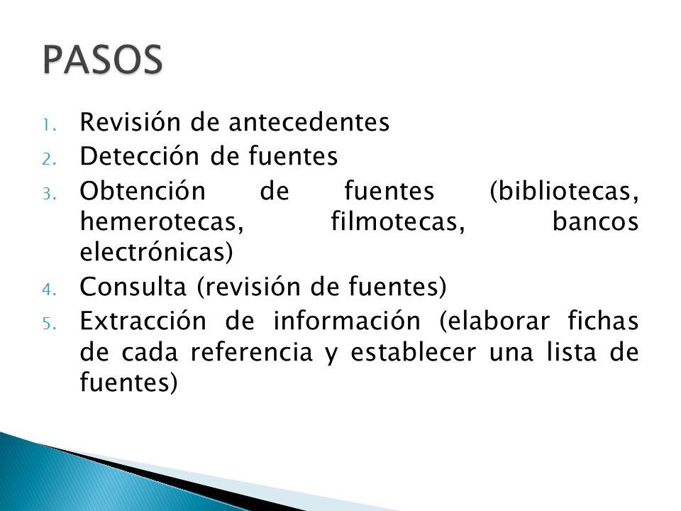 PASOS Revisión de antecedentes Detección de fuentes