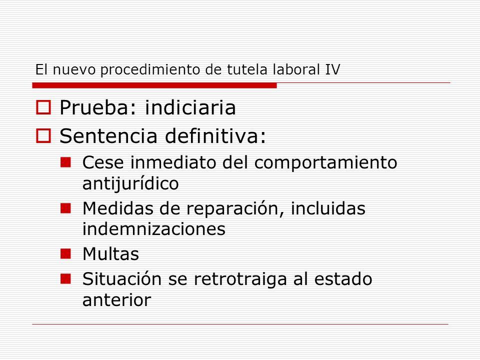 El nuevo procedimiento de tutela laboral IV