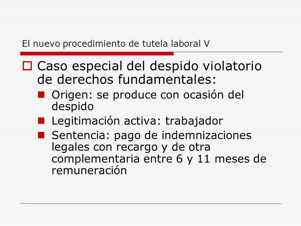 El nuevo procedimiento de tutela laboral V