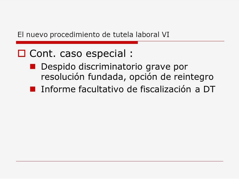 El nuevo procedimiento de tutela laboral VI