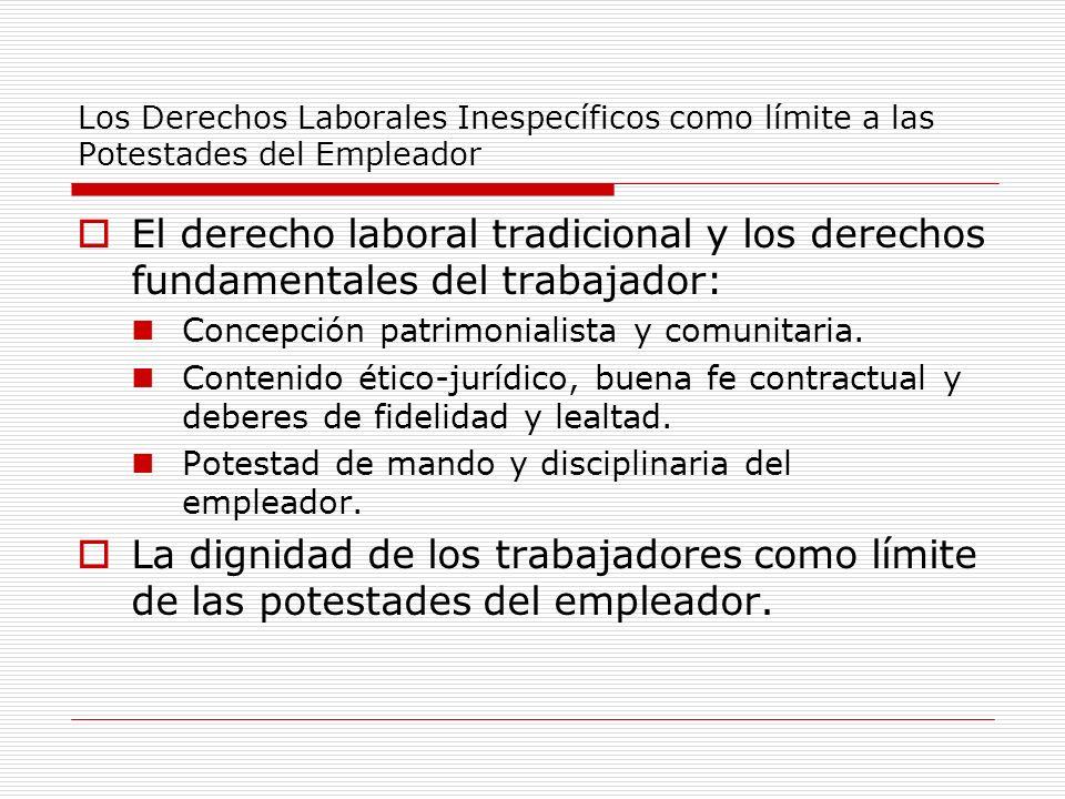 Los Derechos Laborales Inespecíficos como límite a las Potestades del Empleador