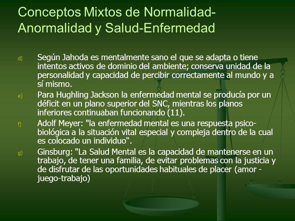 Conceptos Mixtos de Normalidad- Anormalidad y Salud-Enfermedad