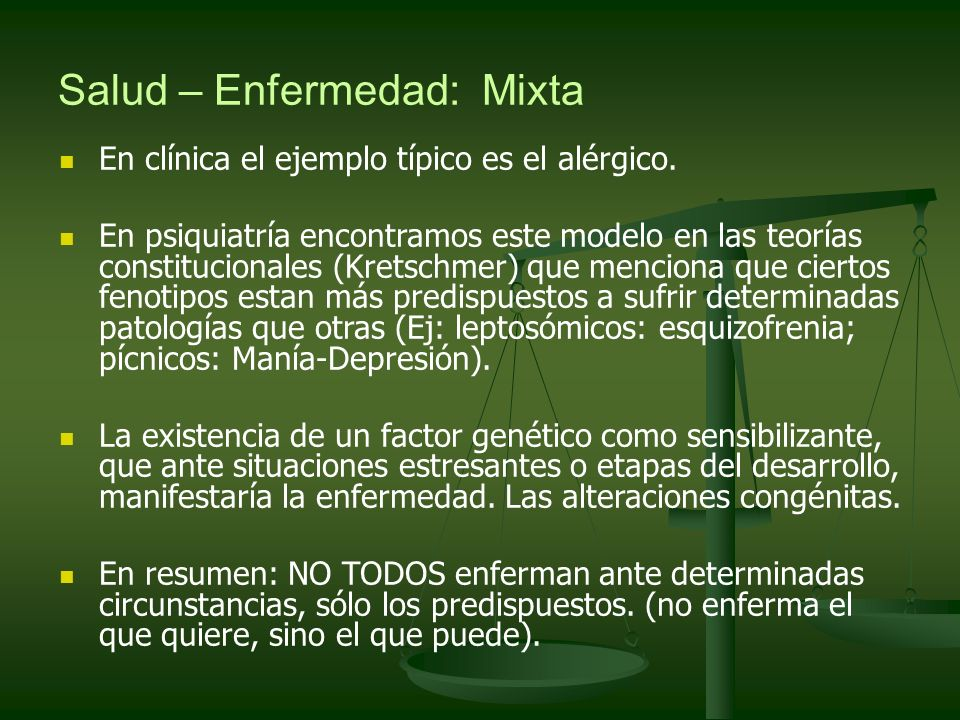 Salud – Enfermedad: Mixta