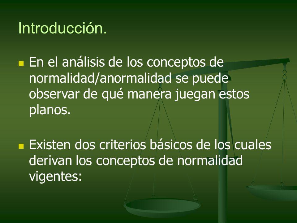 Introducción. En el análisis de los conceptos de normalidad/anormalidad se puede observar de qué manera juegan estos planos.