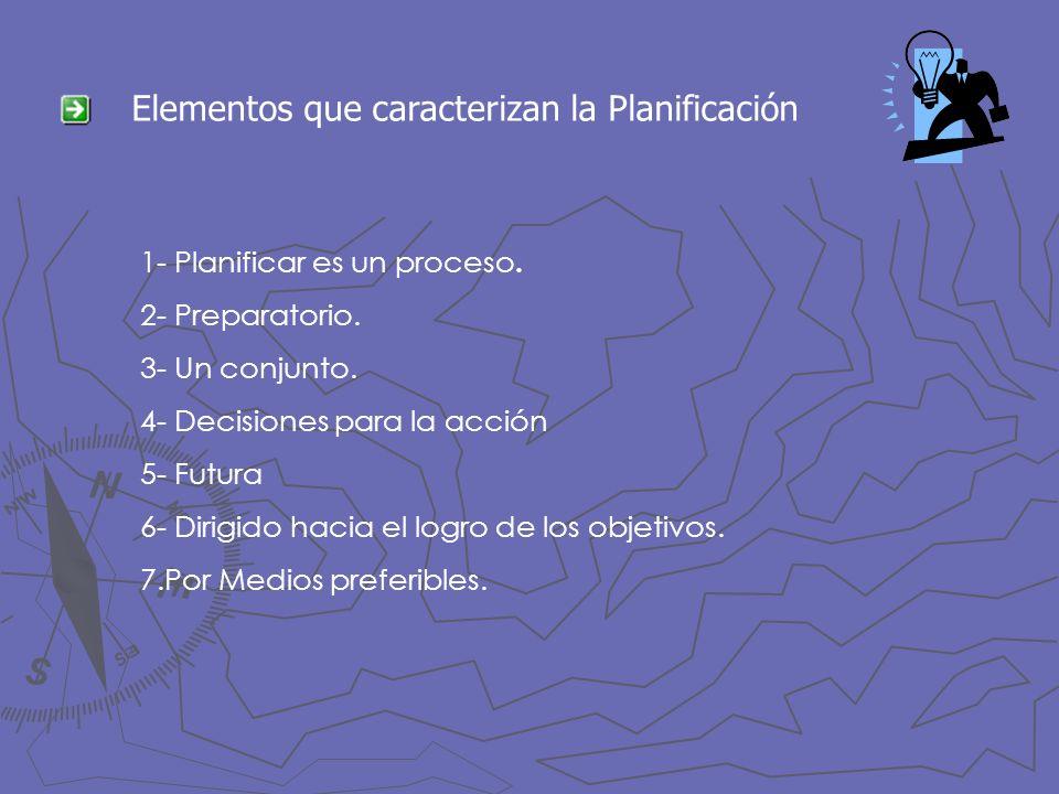 Elementos que caracterizan la Planificación