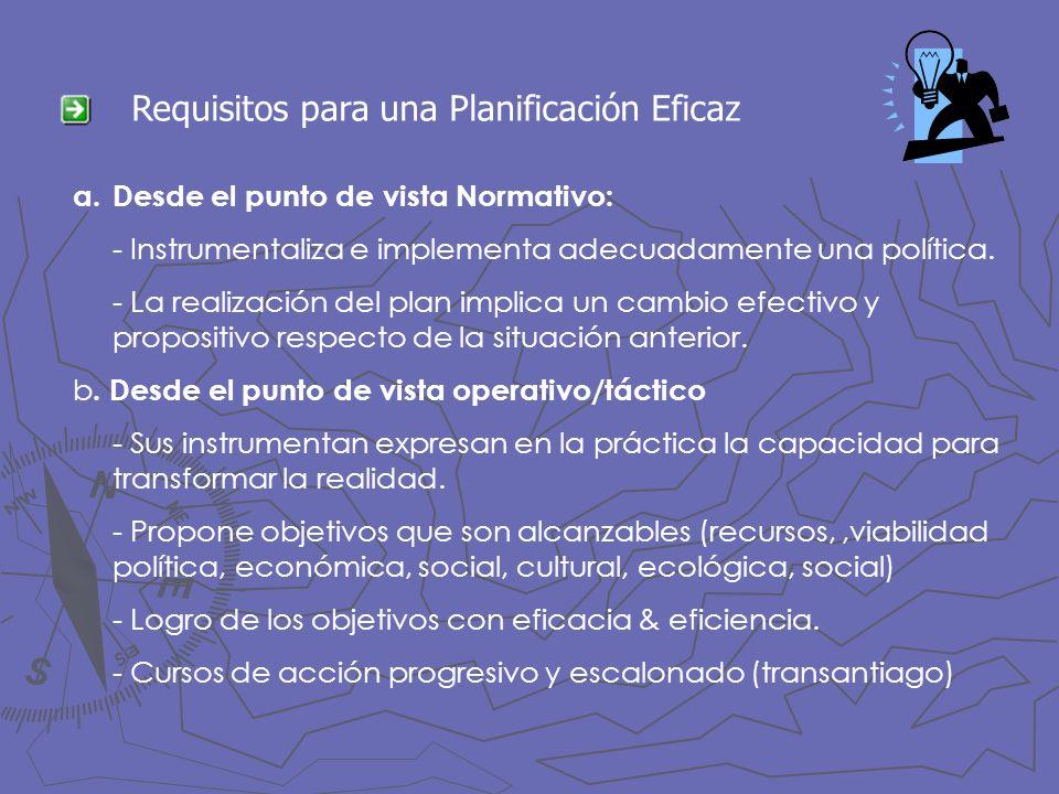 Requisitos para una Planificación Eficaz