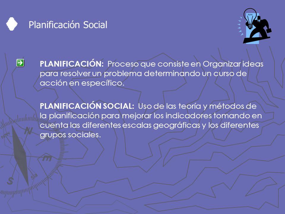 Planificación Social PLANIFICACIÓN: Proceso que consiste en Organizar ideas para resolver un problema determinando un curso de acción en específico.