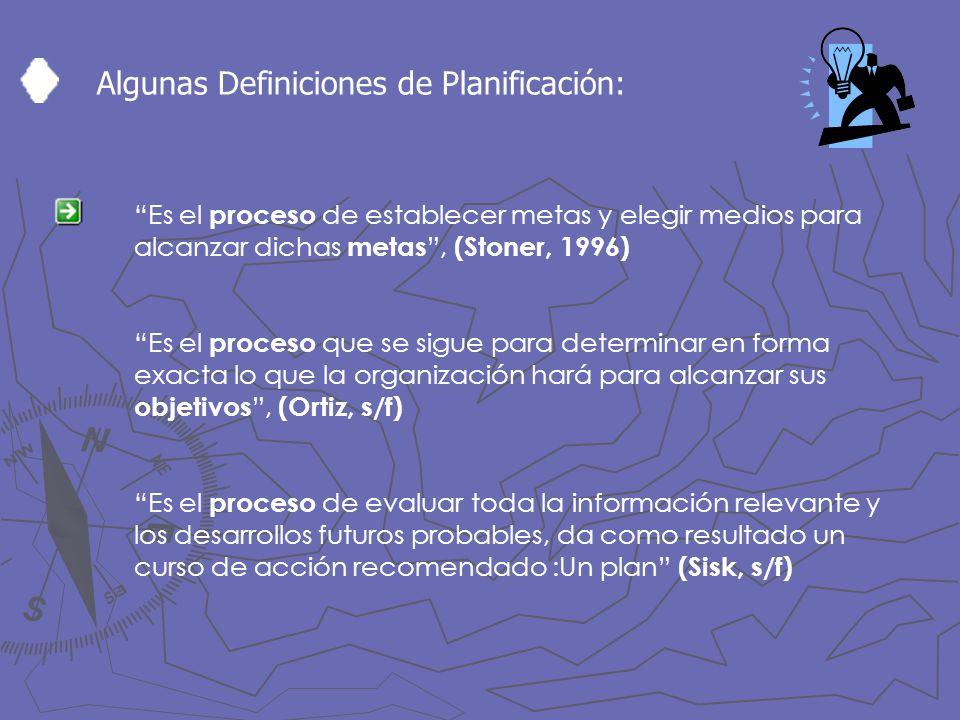 Algunas Definiciones de Planificación: