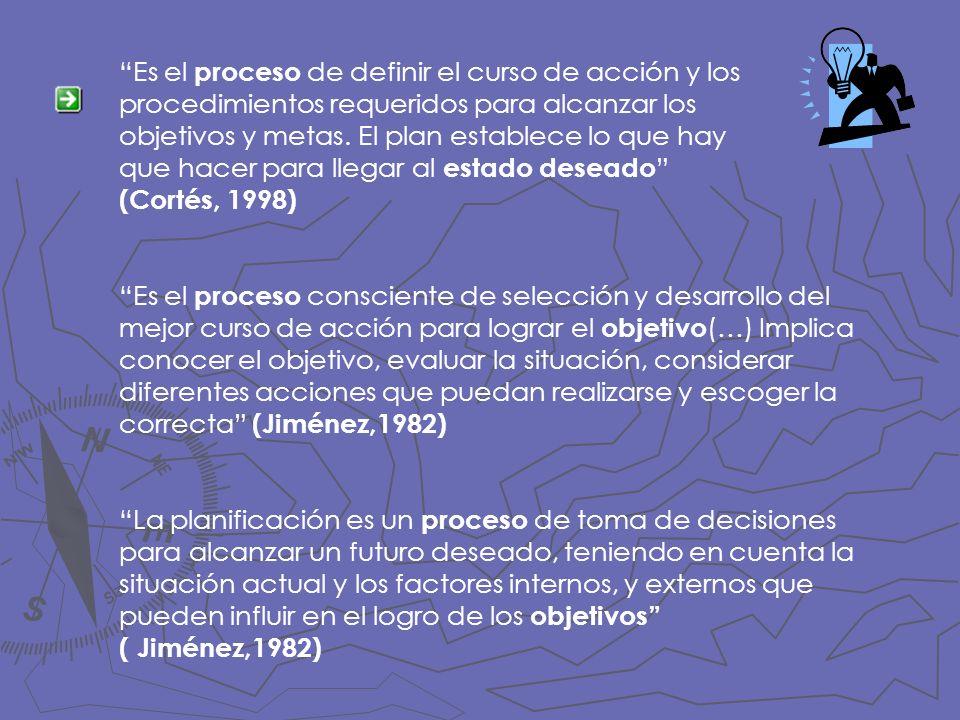 Es el proceso de definir el curso de acción y los procedimientos requeridos para alcanzar los objetivos y metas. El plan establece lo que hay que hacer para llegar al estado deseado (Cortés, 1998)