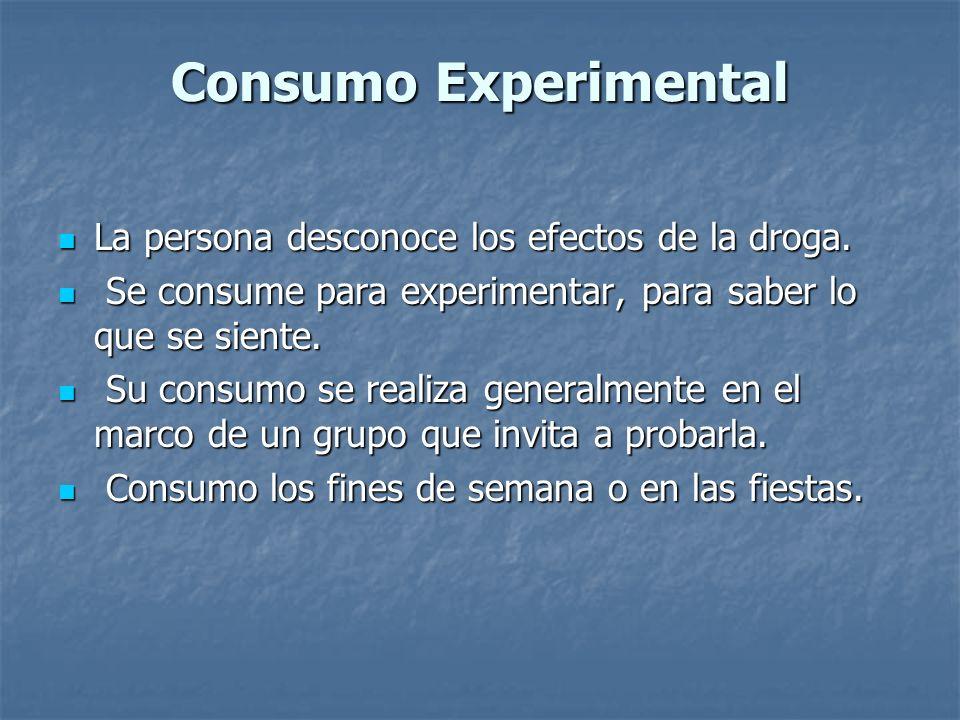 Consumo Experimental La persona desconoce los efectos de la droga.