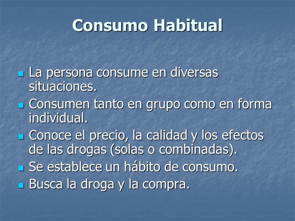 Consumo Habitual La persona consume en diversas situaciones.