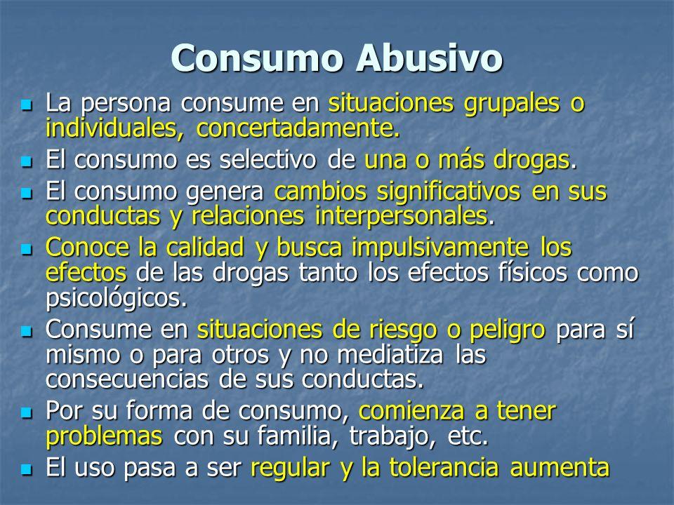 Consumo Abusivo La persona consume en situaciones grupales o individuales, concertadamente. El consumo es selectivo de una o más drogas.